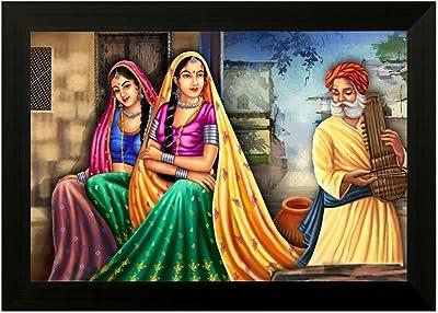 SAF Rajasthani 6551 FolkArt UV Textured Framed Art Print (35 x 50 x 2 cms) SANFMA6551