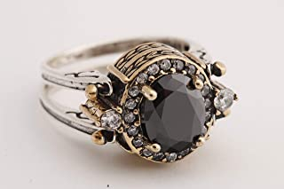 Turkish Handmade Jewelry Reversible Oval Cut Black Onyx Topaz 925 Sterling Silver Ladie's Ring All Size