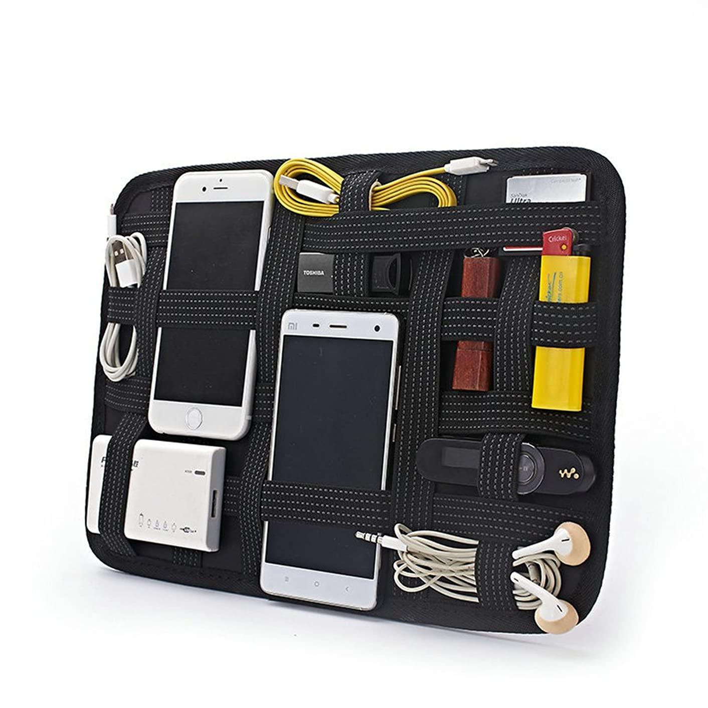 SOXDirect Electronics Organizer Board Digital Device Elastic Organizer Bag for Cord Gadget Power Bank Charging Cable Phones Batteries Mouse Cards