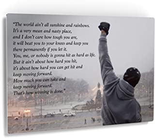 Smile Art Design Rocky Balboa Wall Art Speech Metal Print Motivational Quote Hope Artwork Boxing Sylvester Stallone Living Room Home Decoration Wall Art - Made in The USA - 8x12