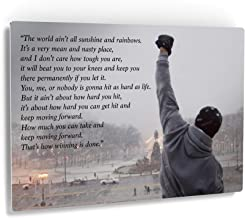 Smile Art Design Rocky Balboa Wall Art Speech Metal Print Motivational Quote Hope Artwork Boxing Sylvester Stallone Living Room Home Decoration Wall Art - Made in The USA - 24x36