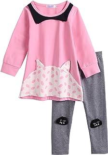 Balasha Baby Girls Clothes 2pc Cute T-Shirt Tulle Tutu Skirt Cartoon Outfit Set