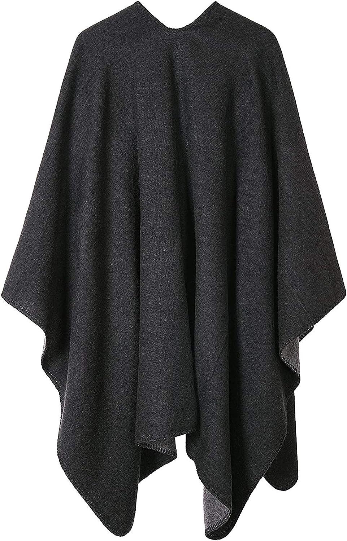 VamJump Women V Cut Reversible Tassel Knitted Large Poncho Capes Wrap Shawl