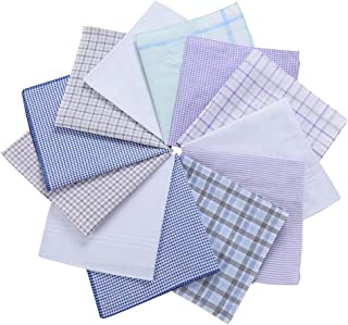 H.FaceSSS Men's Cotton Handkerchiefs with Classic Plaid, Pack of 12 Hankies (Gentleman Series)