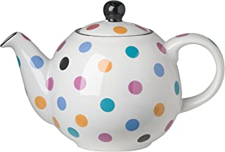 London Pottery Small Globe Teapot, 2 Cup Capacity, White with Multicolored Polka Dots
