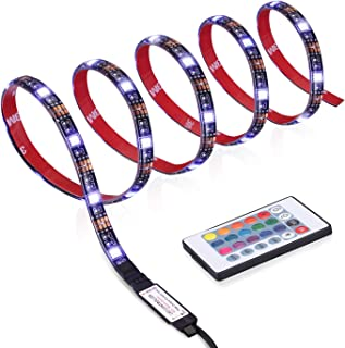 Zerproc LED Strip Lights, 3.3ft 30 LED Waterproof Lights Strip, Flexible TV Lights with 24 Keys IR Remote, USB 5050 RGB Strip Kit for HDTV, PC Board, Kitchen, Cabinet, Home and Indoor Decor