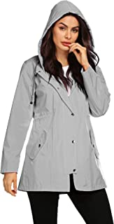 Avoogue Women Raincoat Waterproof Striped Lined Lightweight Jacket with Hood Long Fashion Outdoor Jacket
