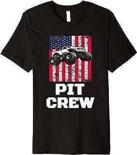 Pit Crew Usa American Flag Monster Truck Happy Theme Premium T-Shirt