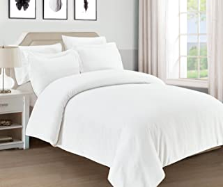 Mellanni Duvet Cover Set 5pcs - Soft Double Brushed Microfiber Bedding with 2 Shams and 2 Pillowcases - Button Closure and Corner Ties - Wrinkle, Fade, Stain Resistant (Full/Queen, White)