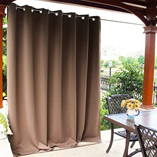 NICETOWN Outdoor Curtain Panel for Patio - Vertical Blinds Thermal Insulated Grommet Top Blackout Slider Curtain/Drape for Outside Pavilion/Lounge (Tan, Single Panel, 100 x 84-Inch)