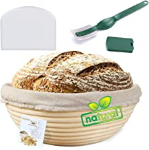 Bread Proofing Basket, Aookay Banneton Proofing Basket Round 9'', with Linen Cloth Liner, Blades, Dough Bench Scraper for ...