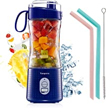 Portable Handhold Blender for Smoothie and Shakes, Vaeqozva Personal 3D 6 Blades 4000mAh USB Rechargeable Mini Juicer Bottle with Drinking Spout and Straws -Navy Blue