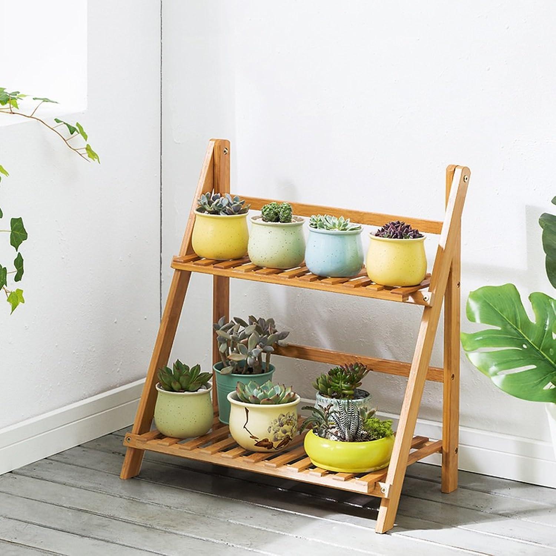 Art Home Store Bamboo Flower Shelf Living Room Floor Type Multi-Layer Folding Indoor Balcony Fleshy Flower Pot Multi-Function Shelf Wood (Size   50cm)