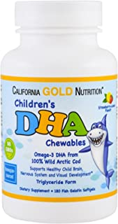 California Gold Nutrition, Children's DHA Chewables, 100% Wild Arctic Cod, Triglyceride Form - Norwegian-Sourced, Strawber...