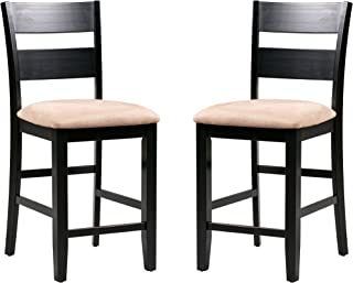 Trithi Furniture Fullerton Asian Solid Wood Black Counter Height with Upholstered Seat Chair