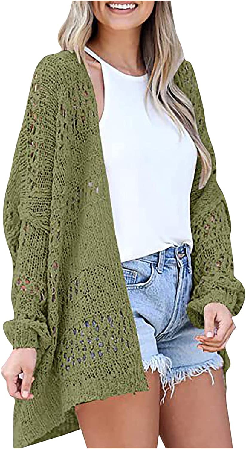Women's Hollow Out Knit Cardigan Tops Autumn Solid Color Casual V-Neck Long Sleeve Sweater Ladies Loose Outerear