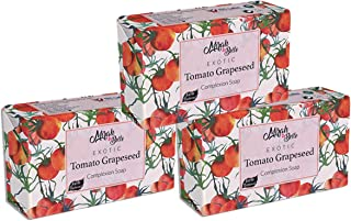 Mirah Belle - Organic Tomato Grapeseed Complexion Soap Bar (Pack of 3) - For Skin Brightening and Whitening. Good for Dull, Pigmented and Blemished Skin - Face and Body Soap for Men and Women - Natural, Vegan, Cruelty Free, Handmade Soap - Sulfate and Paraben Free - 375 gm