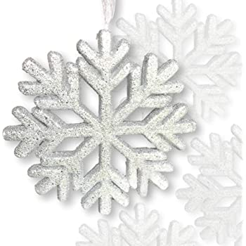 """BANBERRY DESIGNS Large Snowflake Decorations - Set of 5 White Glittered  Foam Snowflake Ornaments with White Ribbon - Approximately 5"""" in Diameter -"""