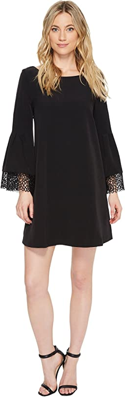 Shift Dress with Lace Sleeve & Hem Detail
