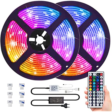 IP65 Wasserdicht f/ür die Weihnachtsk/üche,TV-Bildschirm LED Streifen LED Strip LED Band 10M 2x5m inkl RGB Farbwechsel RGB SMD 5050 300LED mit 44Tasten Fernbedienung selbstklebend 12V Netzteil