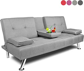 Futon Sofa Bed Twin Size Sleeper, Convertible Lounge Couch with Armrest / 2 Cup Holders/Linen Fabric/Metal Legs (Light Grey)
