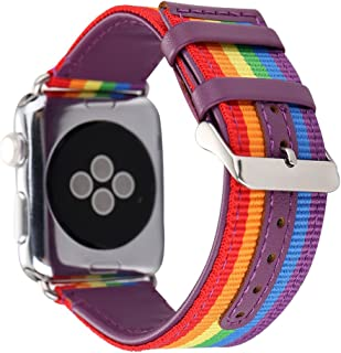 HUANLONG Compatible with Apple Watch Band 38/40/42/44mm, Nylon with Genuine Leather Sport Replacement Strap Wrist Band for iWatch Series 1/2/3/4(Rainbow 42mm)