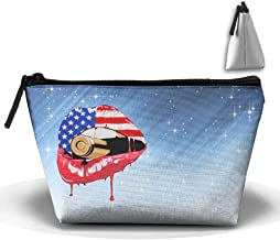 Anutknow American Flag Lip With Bullet Pattern Zipper Bag Cosmetic Bag Multipurpose Pouch