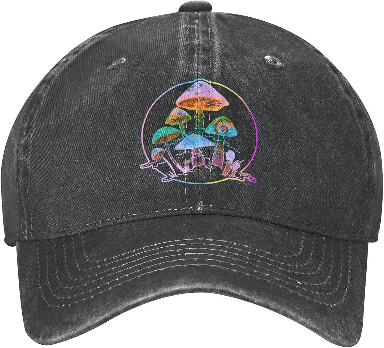 Guncore Magic Mushrooms Cowboy Cap Original Fashion Retro Dad Baseball Hat Outdoor Travel(Unisex)