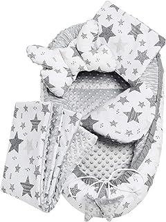 Solvera_Ltd 5 piezas, juego de cuna nido de felpa MINKY, con nido para bebé, 90 x 50 cm, extraíble, cojín plano, cojín para gatear, con almohada para bebé, 100% algodón (gris)