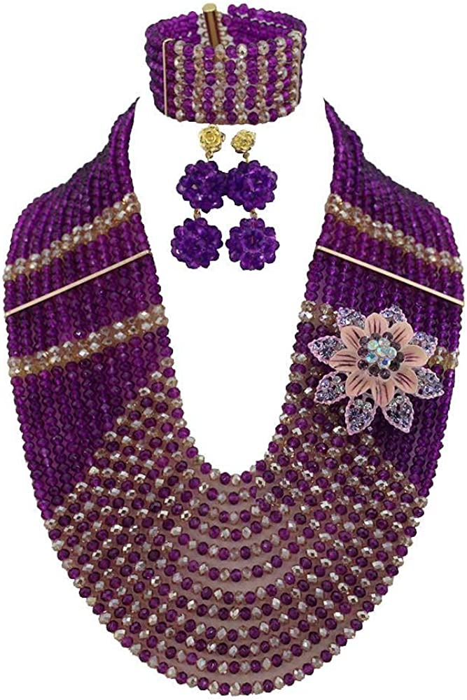 Africanbeads Champagne Purple Crystal unisex Bride Fixed price for sale Set Jewelry