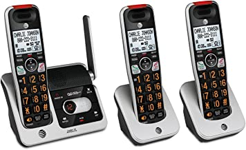 AT&T CRL82312 3-Handset Expandable Cordless Phone with Answering System, XL Display,..