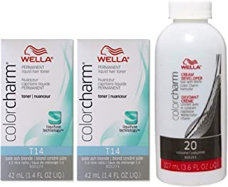 Wella Color Charm Toner T14 1.4 oz (2 Pack) + Cream Developer 20 Volume 3.6 oz