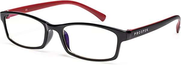 PROSPEK - Computer Glasses - Blue Light Blocking Glasses - Professional (+0.00 (No Magnification) I Small Size, Red and Black)