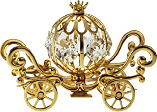 Mini Pumpkin Coach 24k Gold Plated Metal Tabletop Figurine with Clear Spectra Crystals by Swarovski