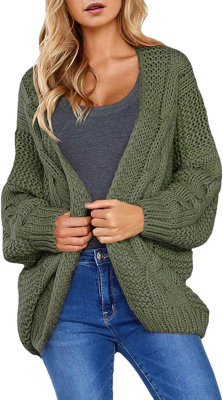 CILKOO Women Open Front Long Sleeve Chunky Knit Cardigan Sweaters Loose Outwear Coat(S-XXL)