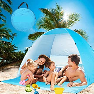 Large Beach Tent UV Pop up Sun Shelter Tents, Big Portable Automatic Sun Umbrella, Waterproof/Windproof Instant Easy Outdo...