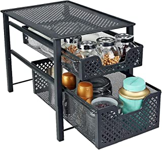 MustQ Stackable 2 Tier Organizer Baskets with Mesh Sliding Drawers, Ideal Cabinet, Countertop, Pantry, Under The Sink, and Desktop Organizer for Bathroom,Kitchen, Office.