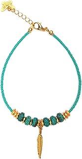 Alwan Long Size Turquoise Anklet for Women - EE3980TTLV