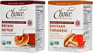 Choice Organic Wellness Tea 2 Flavor Variety Bundle: (1) Reishi Detox, and (1) Shiitake Turmeric, 16 Count