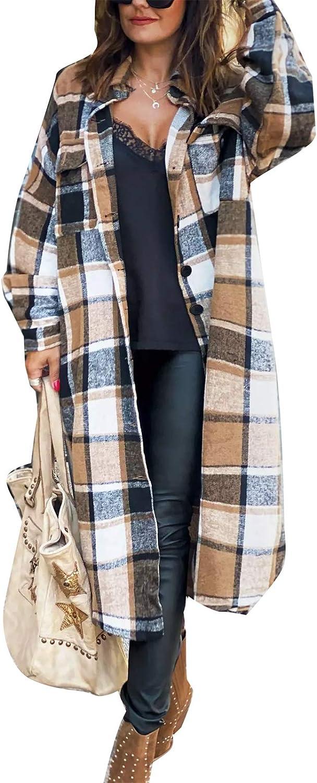 Long Plaid Cardigan For Women Long Sleeve Lapel Button Down Plaid Trench Coat ShirtFall Winter Jackets