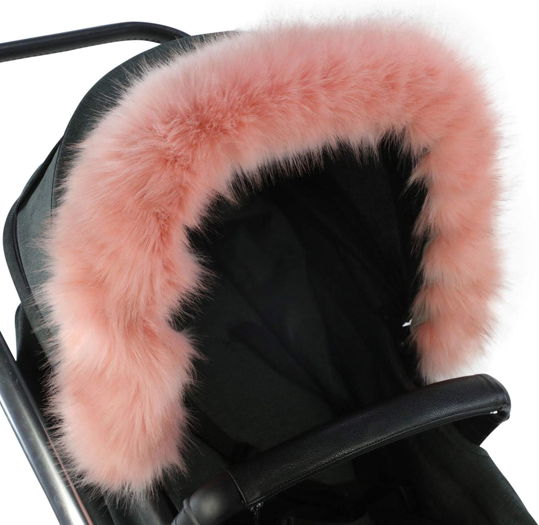 Pushchair Pram Fur Hood Fur Trim Baby Pram Carrycot fit all models pushchair BOW