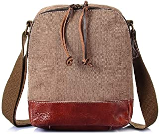 Mens Bag Color: Brown Simple Retro Zipper Waterproof Canvas Messenger Shoulder Bag High capacity