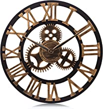 Lafocuse Large Industrial Gear Wall Clock Gold Roman Numerals Open Face Quartz Clocks for Living Room Lounge Bar 23""