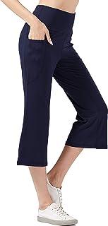 KISSOURBABY Women's High Waist Bootcut Capri Leggings Thin Yoga Pants with 2 Pockets