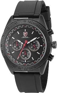 Swell Shark Men's Analog Date Day Black Rubber Band Quartz Wrist Watch