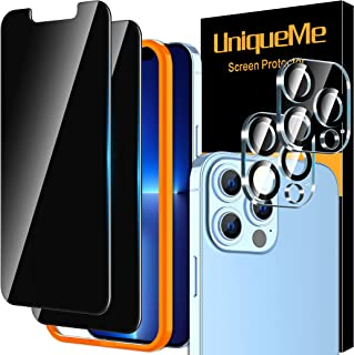 [2+2 Pack] UniqueMe Privacy Screen Protector Compatible for iPhone 13 Pro (6.1 inch) and Camera Lens Protector Tempered Gl...