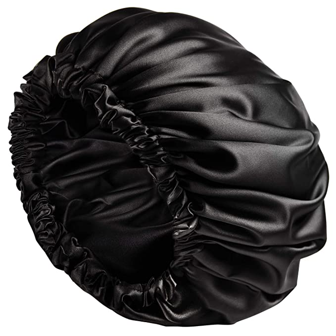 YANIBEST Satin Bonnet Sleep Bonnet Cap - Extra Large, Double Layer, Reversible, Adjustable Satin Cap for Sleeping Hair Bonnet(X-Large,Black)
