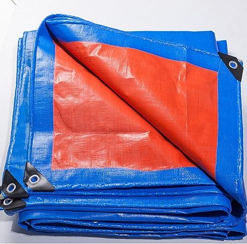 AJZXHE Camion bache imperméable à l'eau de la crème Solaire bache de la Cargaison étanche à la poussière résistant à l'usure résistant à la Corrosion léger PE, Orange + Bleu -Tente