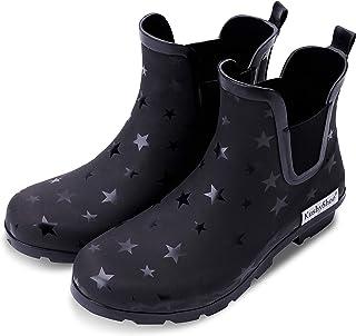 ed3c844191a50 KushyShoo Womens Ankle Rain Boots, Matte and Light Rubber Elastic Rain  Booties