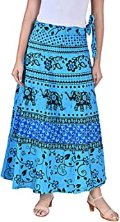 Rangun Presents Jaipuri Printed Cotton Full Length Skirt (Free Size) Blue